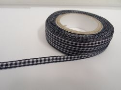 Navy dark Blue 2 metres or full roll x 5mm Gingham Ribbon Double Sided check UK